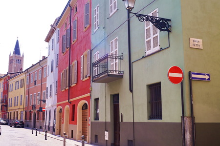 Typical colorful houses, Parma, Italy