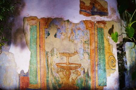 Roman fresco in the Minerva garden, Salerno, Italy