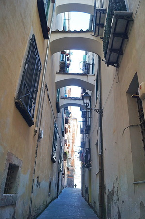 Typical alley in the Old Town of Salerno, Italy