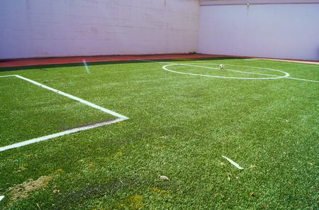 Soccer field in the mens section of the former judicial psychiatric hospital of Montelupo Fiorentino, Tuscany, Italy