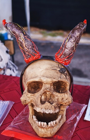 Skull with horns on a table Stock Photo