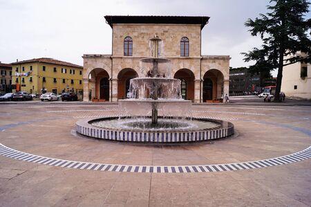 Arnolfo Di Cambio square, Colle Val dElsa, Tuscany, Italy Stock Photo