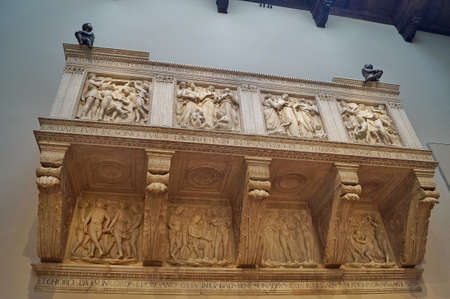Choir loft by Luca Della Robbia in the Opera del Duomo museum, Florence, Italy Editorial