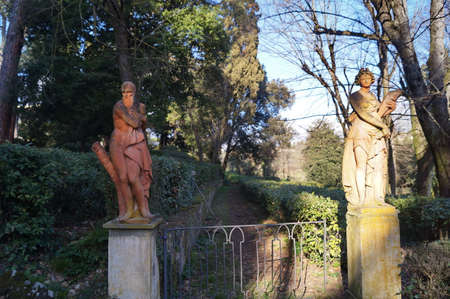 Statues in the park of Villa Stibbert in Florence, Italy