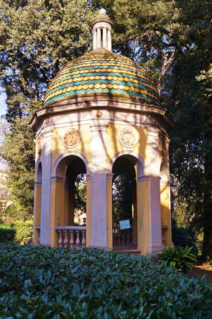 Hellenistic temple in the park of Villa Stibbert in Florence, Italy Stock Photo