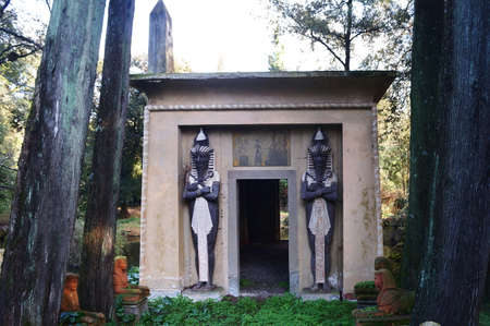 Egyptian temple in the park of Villa Stibbert in Florence, Italy