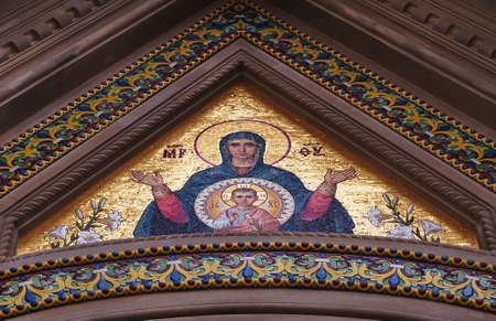 Mosaic on the entrance door of the Russian Orthodox Church of the Nativity in Florence, Italy