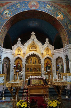 Iconostasis inside the Russian Orthodox Church of the Nativity in Florence, Italy