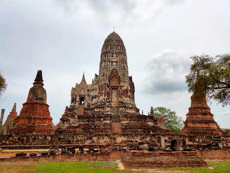 Ayutthaya Historical Park in Ayutthaya, Thailand in a summer day Stock Photo