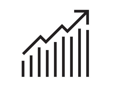 graph icon on black and white background