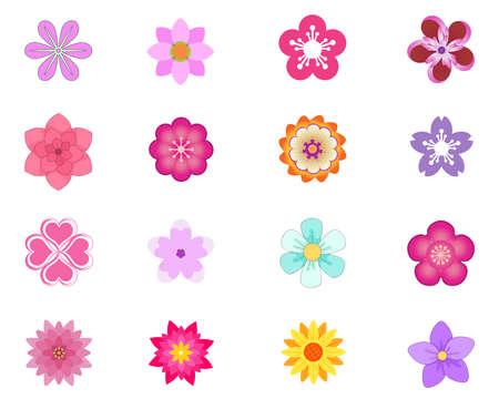 flower Icons set vector illustration