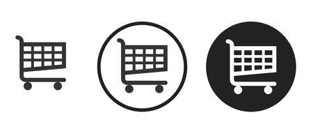 Shopping cart icon on black and white background