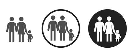 Parents and daughter icon on black and white background 矢量图像