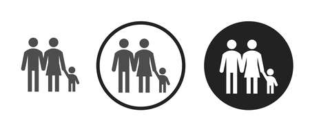 Parents and son Icons set vector illustration