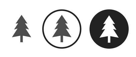 Widespread coniferous green tree Icons set vector illustration Illustration