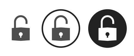 Unlock Icons set vector illustration Vettoriali