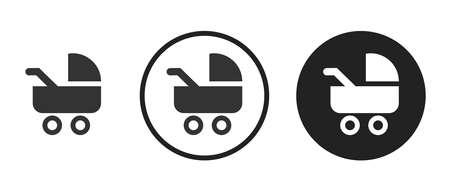 Stroller Icons set vector illustration