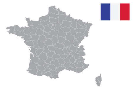 Map of France Departments with black outline and grey fill, vector illustration