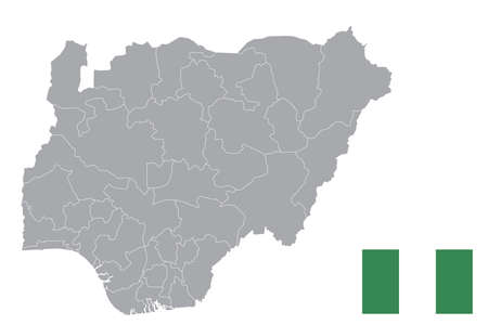 Map of Nigeria with black outline and grey fill, vector illustration