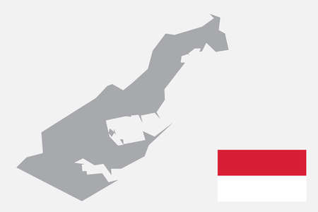 Map of Monaco with black outline and grey fill, vector illustration