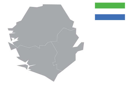 Map of Sierra Leone with black outline and grey fill, vector illustration