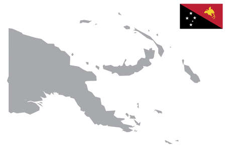 Map of Papua New Guinea with black outline and grey fill, vector illustration