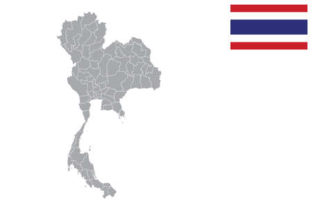 Map of Thailand with black outline and grey fill, vector illustration