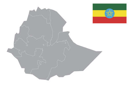 Map of Ethiopia with black outline and grey fill, vector illustration