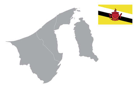 Map of Brunei Darussalam with black outline and grey fill, vector illustration 向量圖像
