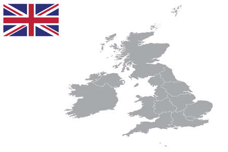 Map of United Kingdom with black outline and grey fill, vector illustration