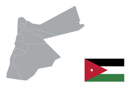 Map of Jordan with black outline and grey fill, vector illustration