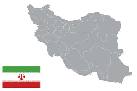 Map of Iran with black outline and grey fill, vector illustration