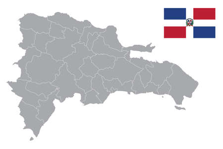 Map of Dominican Republic with black outline and grey fill, vector illustration