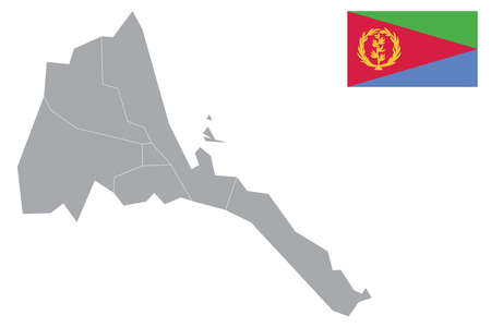 Map of Eritrea with black outline and grey fill, vector illustration