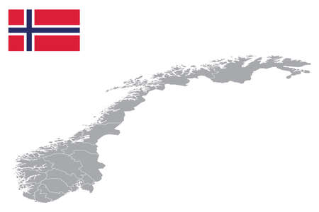 Map of Norway with black outline and grey fill, vector illustration