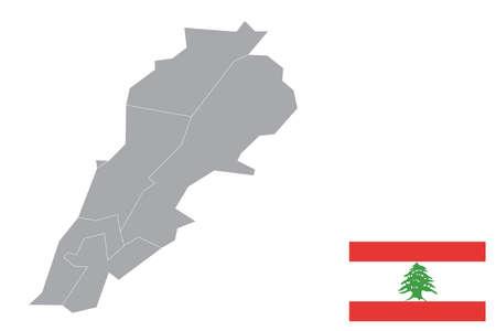 Map of Lebanon with black outline and grey fill, vector illustration Ilustração