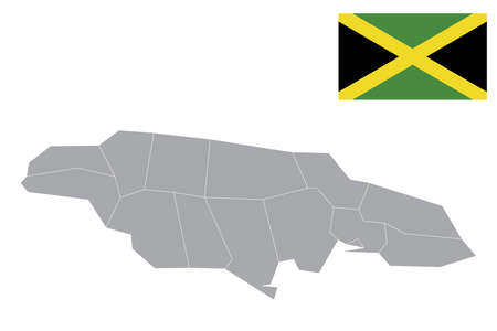 Map of Jamaica with black outline and grey fill, vector illustration