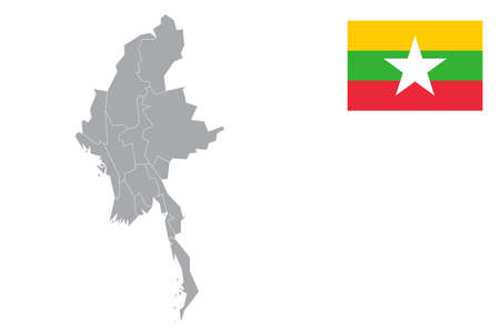 Map of Myanmar with black outline and grey fill, vector illustration