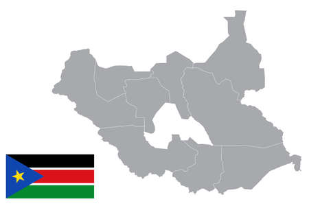 Map of South Sudan with black outline and grey fill, vector illustration