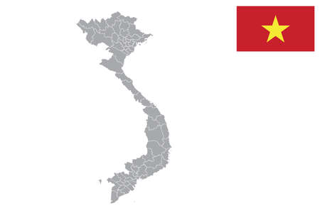 Map of Vietnam with black outline and grey fill, vector illustration