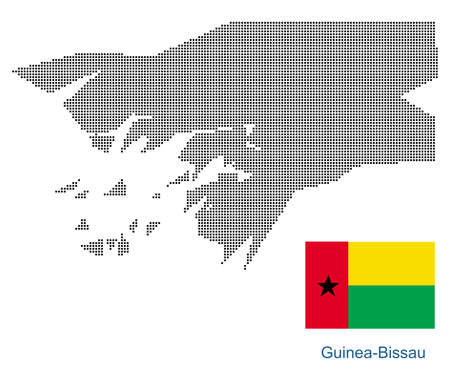Map of GuineaBissau with black outline and grey fill, vector illustration  イラスト・ベクター素材