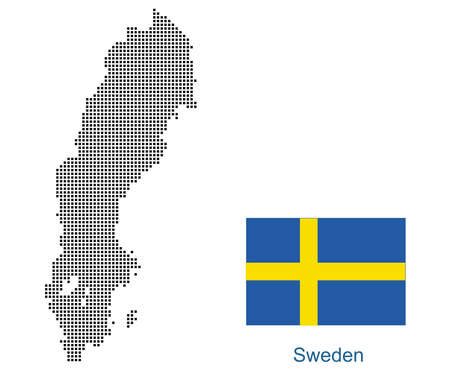 Map of Sweden with black outline and grey fill, vector illustration