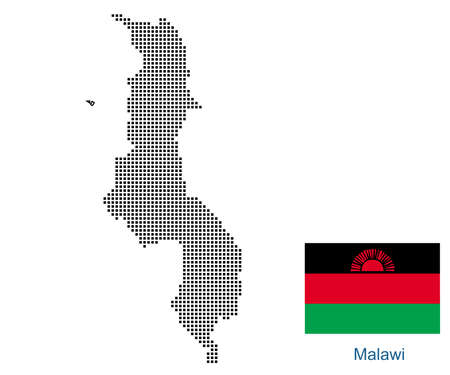 Map of Malawi with black outline and grey fill, vector illustration