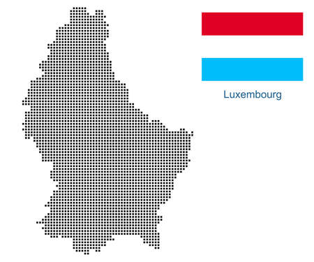 Map of Luxembourg with black outline and grey fill, vector illustration