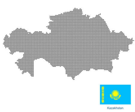 Map of Kazakhstan with black outline and grey fill, vector illustration