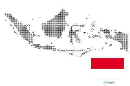 Map of Indonesia with black outline and grey fill, vector illustration