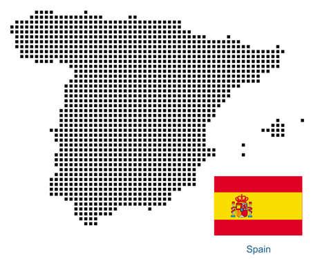 Map of Spain with black outline and grey fill, vector illustration