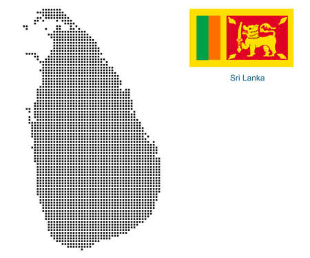 Map of SriLanka with black outline and grey fill, vector illustration
