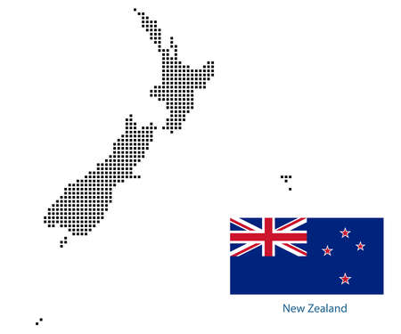 Map of NewZealand with black outline and grey fill, vector illustration