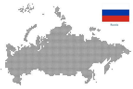 Map of Russia with black outline and grey fill, vector illustration Ilustração